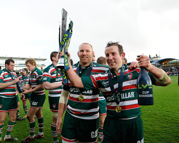 Boris Stankovich (left) and James Grindal of Leicester Tigers celebrate winning the LV= Cup Final match between Leicester Tigers and Northampton Saints at Sixways Stadium, Worcester on Sunday 18 March 2012 (Photo by Rob Munro, Fotosports International)