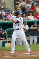 San Antonio Missions outfielder Hunter Renfroe (10) at bat during the Texas League baseball game against the Corpus Christi Hooks on May 10, 2015 at Nelson Wolff Stadium in San Antonio, Texas. The Missions defeated the Hooks 6-5. (Andrew Woolley/Four Seam Images)