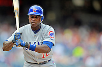 3 September 2012: Chicago Cubs outfielder Alfonso Soriano in action against the Washington Nationals at Nationals Park in Washington, DC. The Nationals edged out the visiting Cubs 2-1, in the first game of heir 4-game series. Mandatory Credit: Ed Wolfstein Photo