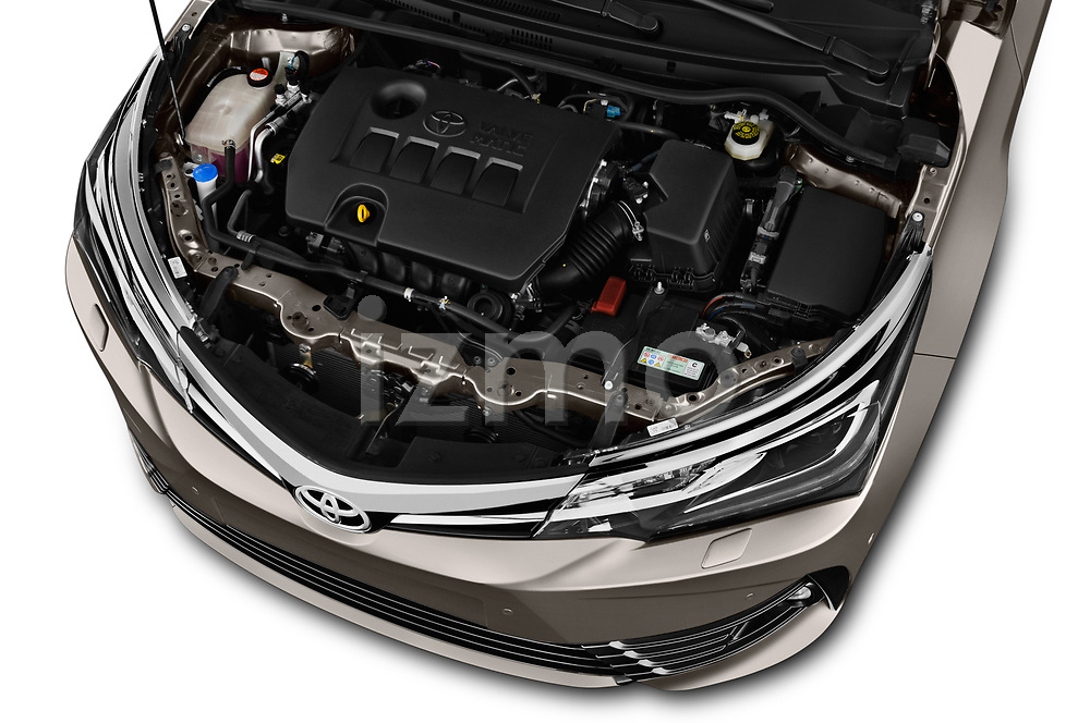 Car Stock 2017 Toyota Corolla Lounge 4 Door Sedan Engine  high angle detail view