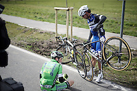 Lorenzo Rota (ITA/Bardiani-CSF) & Fernando Gaviria Rendon (COL/Etixx-Quickstep) got tangled up as they crashed<br /> <br /> 78th Gent - Wevelgem in Flanders Fields (1.UWT)
