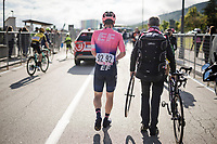 Sean Bennett's (USA/EF Education First) rode over the finish line with a broken wheel<br /> <br /> Stage 6: Cassino to San Giovanni Rotondo (233km)<br /> 102nd Giro d'Italia 2019<br /> <br /> ©kramon