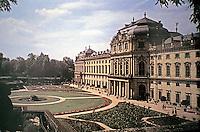 Wurzburg Residence, architect Johann Balthasar Neumann, 1687-1753; Heritage Site. Baroque style. Garden front.