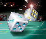 Illustrative image of dices thrown on table representing gambling