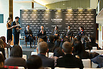 L-R, seated: Fabien Grobon, Managing Director of EEM, Winfried Engelbrecht-Bresges, JP, CEO of The Hong Kong Jockey Club, Juan-Carlos Capelli, Vice-President and Head of International Marketing of Longines, Michael Lee, President of Hong Kong Equestrian Federation, Jacqueline Lai, Masters rider, speak at Longines Hong Kong Masters official press conference at the Happy Valley Racetrack on February 02, 2016 in Hong Kong.  Photo by Victor Fraile / Power Sport Images