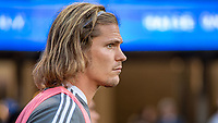 SAN JOSE, CA - JULY 24: Florian Jungwirth #23 of the San Jose Earthquakes warms up during a game between San Jose Earthquakes and Houston Dynamo at PayPal Park on July 24, 2021 in San Jose, California.