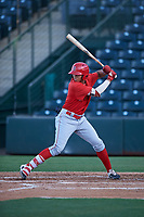 AZL Angels Jose Reyes (12) at bat during an Arizona League game against the AZL Padres 1 on July 16, 2019 at Tempe Diablo Stadium in Tempe, Arizona. The AZL Padres 1 defeated the AZL Angels 3-1. (Zachary Lucy/Four Seam Images)
