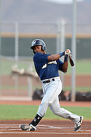 Troy Stokes #52 of the AZL Brewers bats against the AZL Reds at the Cincinnati Reds Baseball Complex on July 5, 2014 in Goodyear, Arizona. (Larry Goren/Four Seam Images)
