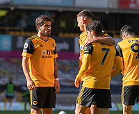 Wolverhampton Wanderers' Pedro Neto (centre right)  celebrates scoring the opening goal with team-mate <br /> <br /> <br /> Photographer David Horton/CameraSport<br /> <br /> The Premier League - Wolverhampton Wanderers v Fulham - Sunday 4th October 2020 - Molineux Stadium - Wolverhampton<br /> <br /> World Copyright © 2020 CameraSport. All rights reserved. 43 Linden Ave. Countesthorpe. Leicester. England. LE8 5PG - Tel: +44 (0) 116 277 4147 - admin@camerasport.com - www.camerasport.com