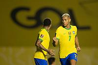 13th November 2020; Morumbi Stadium, Sao Paulo, Sao Paulo, Brazil; World Cup 2022 qualifiers; Brazil versus Venezuela;  Richarlison of Brazil turns to celebrate as Firmino scores for Brazil in the 67th minute