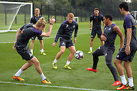 Pictured L-R: Oliver McBurnie, Jay Fulton, Jefferson Montero and Ki Sung Yueng Thursday 18 August 2016<br /> Re: Swansea City FC training at Fairwood, Wales, UK
