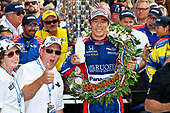 Verizon IndyCar Series<br /> Indianapolis 500 Race<br /> Indianapolis Motor Speedway, Indianapolis, IN USA<br /> Sunday 28 May 2017<br /> Takuma Sato, Michael Andretti Autosport Honda celebrates the win in Victory Lane with milk<br /> World Copyright: Scott R LePage<br /> LAT Images<br /> ref: Digital Image lepage-170528-indy-10659<br /> ref: Digital Image lepage-170528-indy-10645