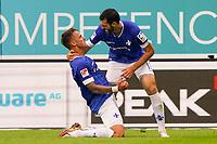 celebrate the goal, Torjubel zum 2:0 von Phillip Tietz (SV Darmstadt 98) mit Luca Pfeiffer (SV Darmstadt 98)<br /> <br /> - 28.08.2021 Fussball 2. Bundesliga, Saison 21/22, SV Darmstadt 98 vs Hannover 96, Stadion am Boellenfalltor, emonline, emspor, <br /> <br /> Foto: Marc Schueler/Sportpics.de<br /> Nur für journalistische Zwecke. Only for editorial use. (DFL/DFB REGULATIONS PROHIBIT ANY USE OF PHOTOGRAPHS as IMAGE SEQUENCES and/or QUASI-VIDEO)