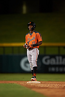 AZL Giants Orange Marco Luciano (10) stands on second base after hitting a double during an Arizona League game against the AZL Cubs 1 on July 10, 2019 at Sloan Park in Mesa, Arizona. The AZL Giants Orange defeated the AZL Cubs 1 13-8. (Zachary Lucy/Four Seam Images)
