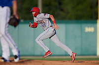 Clearwater Threshers Alec Bohm (40) running the bases during a Florida State League game against the Dunedin Blue Jays on May 11, 2019 at Jack Russell Memorial Stadium in Clearwater, Florida.  Clearwater defeated Dunedin 9-3.  (Mike Janes/Four Seam Images)