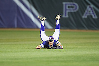 High Point Panthers center fielder Austen Zente (5) makes a diving catch during game two of a double-header against the NJIT Highlanders at Williard Stadium on February 18, 2017 in High Point, North Carolina.  The Highlanders defeated the Panthers 4-2.  (Brian Westerholt/Four Seam Images)