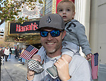 Matt and 1-year old Lucas during the Veterans Day Parade in downtown Reno on Saturday, Nov. 11, 2017.