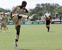 Ashani Fairclough #11 of the University of South Florida boots the ball up field during a Big East NCAA match against the University of Notre Dame at the University of South Florida on September20 2009, in Tampa, Florida.South Florida won 2-1 .