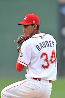 Starting pitcher Roniel Raudes (34) of the Greenville Drive delivers a pitch in a game against the Charleston RiverDogs on Tuesday, May 17, 2016, at Fluor Field at the West End in Greenville, South Carolina. Greenville won, 4-2. (Tom Priddy/Four Seam Images)