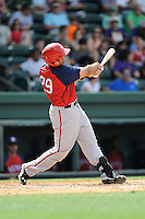 Catcher Raudy Read (29) of the Hagerstown Suns, in a game against the Greenville Drive on May 12, 2015, at Fluor Field at the West End in Greenville, South Carolina. Greenville won, 4-0. (Tom Priddy/Four Seam Images)