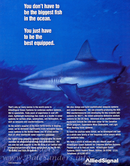 Magazine Ad for Allied Signal featuring a shark photo.