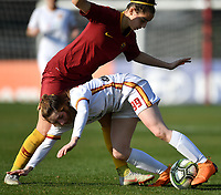 Noemi Visentin of Roma CF and Angelica Soffia of AS Roma compete for the ball during the Women Italy cup round of 8 second leg match between AS Roma and Roma Calcio Femminile at stadio delle tre fontane, Roma, February 20, 2019 <br /> Foto Andrea Staccioli / Insidefoto