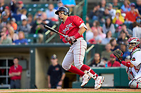 Worcester Red Sox Joey Meneses (65) bats during a game against the Rochester Red Wings on September 3, 2021 at Frontier Field in Rochester, New York.  (Mike Janes/Four Seam Images)