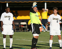 Andrew Quinn #0 of the University of Notre Dame of the University greets the fans  during a men's NCAA match against Michigan at the new Alumni Stadium on September 1 2009 in South Bend, Indiana. Notre Dame won 5-0.