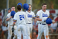 South Dakota State Jackrabbits Ryan McDonald (8), Jamie Berg (24), Landon Badger (11), and Colton Cox (12) celebrate a home run during a game against the Northeastern Huskies on February 23, 2019 at North Charlotte Regional Park in Port Charlotte, Florida.  Northeastern defeated South Dakota State 12-9.  (Mike Janes/Four Seam Images)