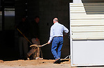 October 19, 2015:  Richard Mandella helps prep the barn for Beholder's arrival. <br /> Beholder arrives at Keeneland Racecourse for the Breeder's Cup Classic for trainer Richard Mandella.  Candice Chavez/ESW/CSM