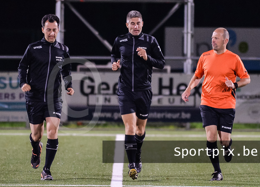 Referee Marnie Claes and assistant referee Toon Valgaeren and Robby Celis pictured during a female soccer game between  Racing Genk Ladies and AA Gent Ladies ,  on the 6 th  matchday of the 2021-2022 season of the Belgian Scooore Womens Super League , friday 8 october 2021  in Genk , Belgium . PHOTO SPORTPIX | JILL DELSAUX
