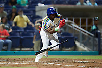 James Beard (4) of the Kannapolis Cannon Ballers starts down the first base line against the Lynchburg Hillcats at Atrium Health Ballpark on August 28, 2021 in Kannapolis, North Carolina. (Brian Westerholt/Four Seam Images)