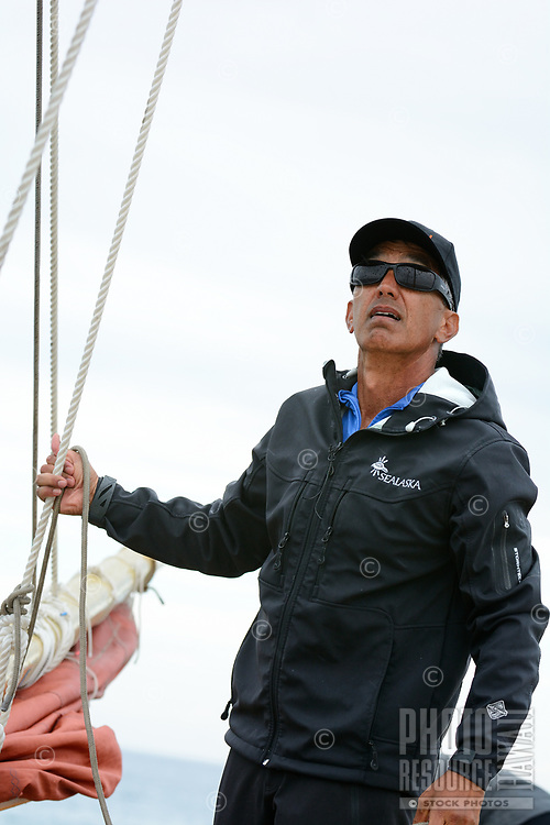 Master navigator Nainoa Thompson aboard Hokule'a on a training sail, O'ahu, March 24, 2013.