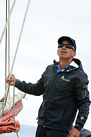 Master navigator Nainoa Thompson aboard Hokule'a on a training sail, O'ahu, March 24, 2013.