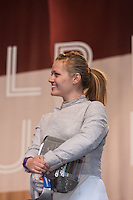 USA Olympic Fencing team member Dagmara Wozniak participates in the Road to London 100 Days Out Celebration in Times Square in New York City, New York, USA on Wednesday, April 18, 2012.  Times Square was transformed into an Olympic Village for the event.