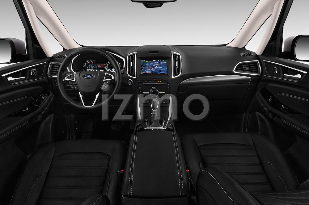Stock photo of straight dashboard view of 2016 Ford Galaxy Titanium 5 Door Minivan Dashboard