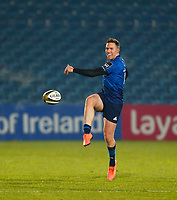 2nd January 2021; RDS Arena, Dublin, Leinster, Ireland; Guinness Pro 14 Rugby, Leinster versus Connacht; Rory O'Loughlin of Leinster chips the ball forward for field  position