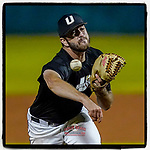 Jonathan Carlyle (37) of the University of South Carolina Upstate Spartans Black team pitches in relief in the Green and Black Fall World Series Game 4 on Wednesday, November 4, 2020, at Cleveland S. Harley Park in Spartanburg, South Carolina. Green won, 8-0. (Tom Priddy/Four Seam Images)