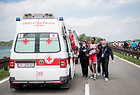 The 15th stage came to an abrupt halt after just a few minutes (3km) of racing following a large crash that forced the race to temporarily be neutralized as medical assistence was temporarily stretched to the max and further medical safety became an issue.<br /> Natnael Berhane (ERI/Cofidis) was among the victims and needed to abandon the race.<br /> <br /> 104th Giro d'Italia 2021 (2.UWT)<br /> Stage 15 from Grado to Gorizia (147km)<br /> <br /> ©kramon