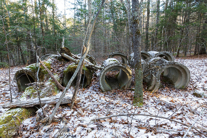 Abandoned culverts in forest along Tunnel Brook drainage of Benton, New Hampshire.