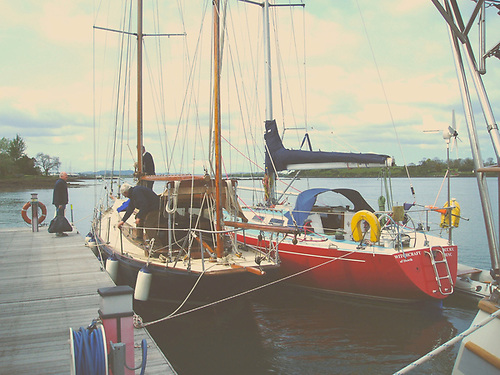 The 1912-built Ainmara and the 1976-built Witchcraft together at the Down Cruising Club in Strangford Lough. In 1964, the Round Isle of Man Race was won by Ainmara. Thirty years later in 1994, it was won again under the same command, this time by Witchcraft.