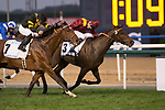 DUBAI,UNITED ARAB EMIRATES-MARCH 25: The Right Man (inside),ridden by Francois-Xavier Bertras,wins the Al Quoz Sprint at Meydan Racecourse on March 25,2017 in Dubai,United Arab Emirates (Photo by Kaz Ishida/Eclipse Sportswire/Getty Images)