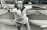 On the run: Rejean Genois of Quebec city; the only Canadian to post a win in this year's Canada Open tennis; gets set to make a return yesterday in second round action against Eddie Dibbs of U.S. The experienced Dibbs; first seed in tournament; had tough struggle before putting Genois away; 6-2; 6-4. Genois picked up $1;530 for his loss; as did Toronto's Greg Halder; who bowed; 6-3; 6-1; to Brain Gottfried of the U.S. Halder was hampered by two-hour rain delay.<br /> <br /> 1978<br /> <br /> PHOTO :  Bob Olsen - Toronto Star Archives - AQP