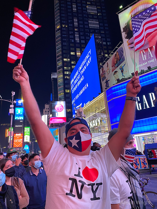 November 7, 2020. Joe Biden and Kamala Harris announce their election win and New York Ciy celebrates. Crowds gather in Times Square to watch the acceptance speech.