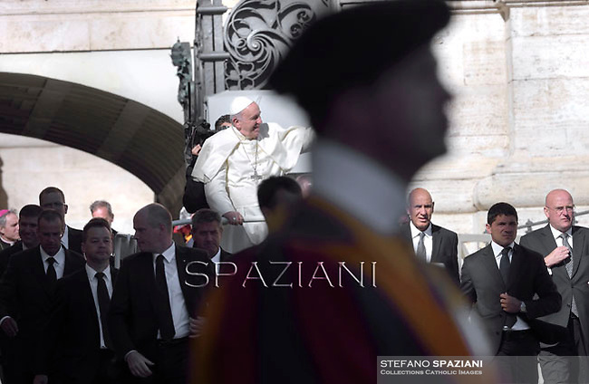 Pope Francis during his weekly general audience in St. Peter square at the Vatican, Wednesday. September 3, 2014.
