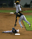 Reno Aces' Jack Reinheimer slides safely under the tag of Salt Lake Bees' Sherman Johnson at Greater Nevada Field, in Reno, Nev., on Wednesday, Aug. 10, 2016.  <br /> Photo by Cathleen Allison