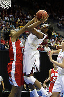 BERKELEY, CA - MARCH 30: Nneka Ogwumike fights the defense to put up a shot during Stanford's 84-66 win against the Ohio State Buckeyes on March 28, 2009 at Haas Pavilion in Berkeley, California.