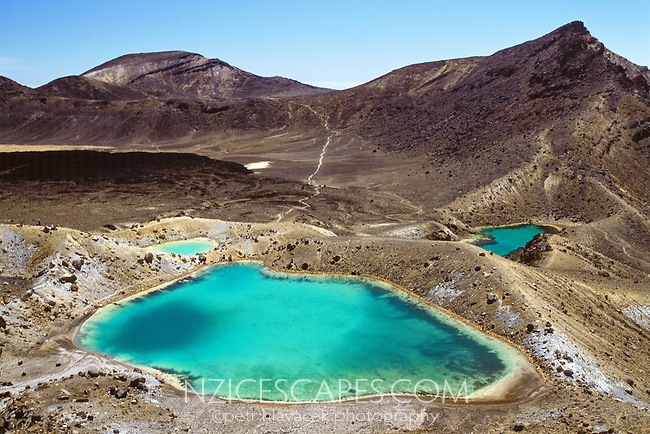 Emerald Lakes on Tongariro Crossing Track, Tongariro National Park, Central Plateau, New Zealand