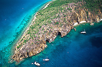 Norman Island aerial showing the caves<br /> British Virgin Islands