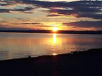 Beautiful sunset over Slave Lake Alberta.